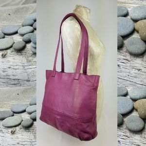 Free People Raspberry Pebbled Leather Tote